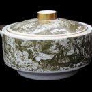 Rieber Bavaria Green Toile Covered Casserole Serving Dish Deer Hunt French Country 2 Quart