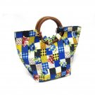 Vintage Wood Handle Handbag Patchwork Printed Gingham Purse Blue Yellow Red Rose