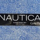 Nautica Queen Sheet Set Blue White Paisley La Plata Soft Cotton 300 Ct Bedding