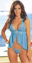 2 Piece Halter Babydoll Set with Acrylic Gem Accents and Ribbon Trim