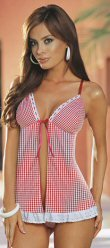 2 Piece Gingham Babydoll Set with Lace Trim and Front Ribbon Tie