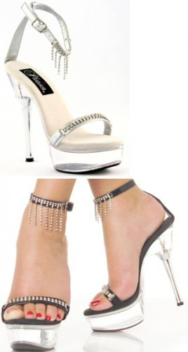 Women's High Heel Sandal with Rhinestone Fringe and Studded Strap