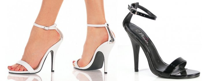 """""""Seduce"""" - Women's Open Toe Ankle Strap Sandals/Shoes with Plated Metal Heel"""
