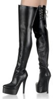 Revenge - Women's Thigh High Leather Fetish Boots with Rear Lacing