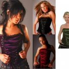 Junior / Missy Strapless Velvet Corset Tops with Front Ribbon Lace Up