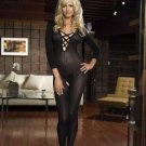 Sheer Long Sleeved Criss Cross Front Bodystocking with Open Crotch