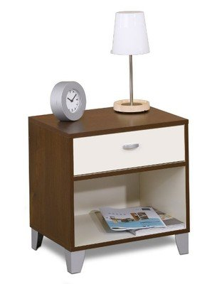 1 Drawer Night Stand Bedside Table with Storage Bookshelf