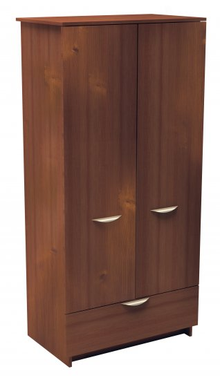 Bedroom Wardrobe Clothes Armoire with Drawer - Hanging Rod - Shelf