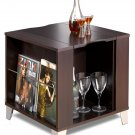Espresso Living Room Console End Table w/ Serving Tray & Storage Areas