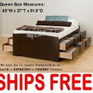 Espresso QUEEN SIZE PLATFORM STORAGE BED 12 DRAWER DRESSER SUITE