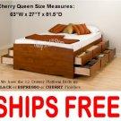 Cherry QUEEN SIZE PLATFORM STORAGE BED 12 DRAWER DRESSER SUITE