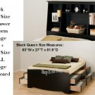 Black Queen Size 12 Drawer Platform Storage Bed + TALL Queen Bookcase Storage Headboard