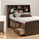 Espresso Queen Size 12 Drawer Platform Storage Bed + TALL Queen Bookcase Headboard + Night Stand