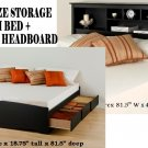 Black King Size 6 Drawer Platform Storage Bed + King Bookcase Storage Headboard