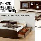 Espresso King Size 6 Drawer Platform Storage Bed + King Bookcase Storage Headboard