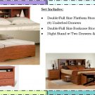 CHERRY Double/Full Size Platform Storage Bed + Headboard + Night Stand Package