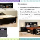 BLACK Double/Full Size Platform Storage Bed + Headboard + Night Stand Package