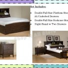 ESPRESSO Double/Full Size Platform Storage Bed + Headboard + Night Stand Package