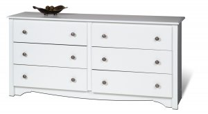 White Six (6) Drawer Bedroom Clothes Dresser Cabinet Chest