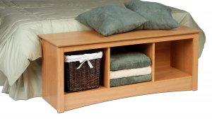 Maple Queen Double/Full Hallway Bed Bench Storage Room Organizer