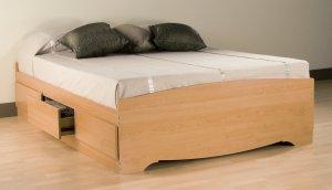 Maple Queen Captains Platform Storage Bed w/ 6 Drawer Dresser Chest Underbed