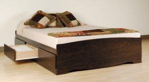 Espresso Queen Captains Platform Storage Bed w/ 6 Drawer Dresser Chest Underbed