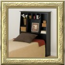 Black Twin Size Tall Slanted Bed Storage Bookcase Headboard Bookcase