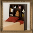 Espresso Twin Size Tall Slanted Bed Storage Bookcase Headboard Bookcase