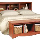 Cherry Queen / Double / Full Size Bed Storage Bookcase Headboard