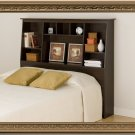 Espresso Queen / Double / Full Size Bed Tall Slanted Storage Bookcase Headboard