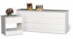 White Bedroom Six (6) Drawer Chest Dresser Storage Clothes Organizer