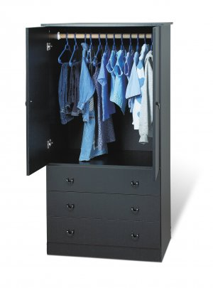 Black Bedroom Armoire / Entertainment Center w/ 3-Storage Drawers
