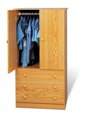 Oak Bedroom Armoire / Entertainment Center w/ 3-Storage Drawers