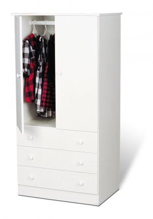 White Bedroom Armoire / Entertainment Center w/ 3-Storage Drawers