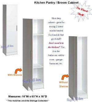 White 16  Kitchen Pantry Bedroom Storage Cabinet Broom Closet Bath Organizer  sc 1 st  eCRATER & White 16