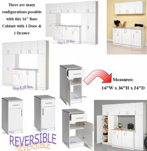 """White 16"""" Laundry Kitchen Closet Garage Bathroom Bedroom Storage Cabinet w/ Drawer"""