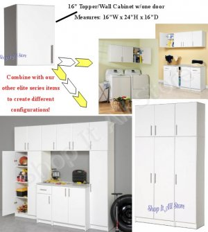 "White 16"" Kitchen Bath Laundry Garage Cubbie Cabinet Modular Storage"