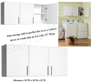 "White 54"" Laundry Room / Den Storage Cabinet - Kitchen Garage or Bathroom Use too!"