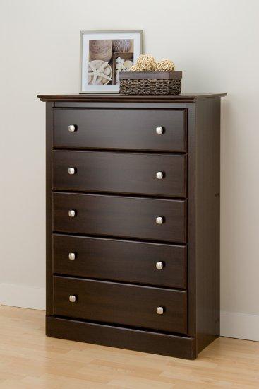 Espresso Five (5) Drawer Clothes Storage Bedroom Dresser