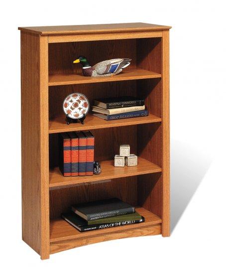 "Oak 48"" Bookcase Book Shelf CD DVD Blu-Ray Storage Organizer - 2 Shelf"
