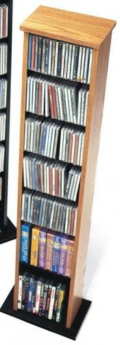 OAK CD / DVD / BLU-RAY Movie / Video Game Storage Tower Organizer - Small Collection