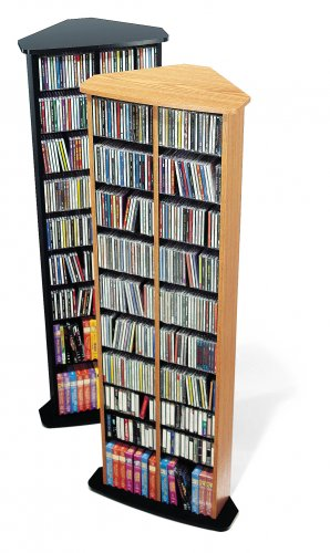 BLACK Corner CD / DVD / BLU RAY Movie / Video Game Storage Tower Organizer