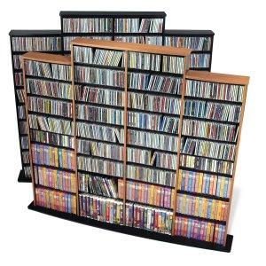 OAK Quad Wall CD / DVD / BLU-RAY Movie / Video Game Storage Tower Organizer