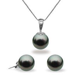 Black Tahitian Pendant & Earring Set 8.0-9.0mm