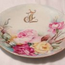 PL LIMOGES PLATE ROSES AND VINES FLOWER WITH GOLD SIGNATURE