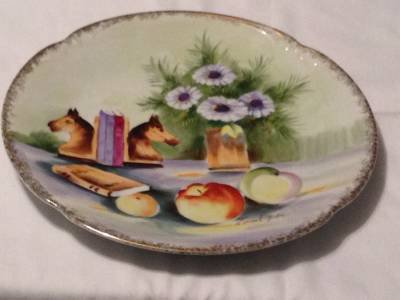 STILL LIFE PICTURE WALL HANGING PLATE  WITH GOLD TRIM