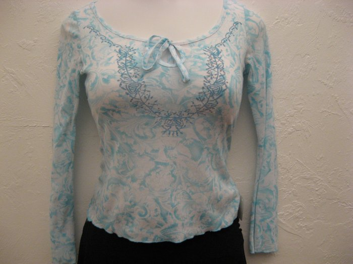 Trendy Sheer Blue Long Sleeve Top - Silver Gate (Medium)