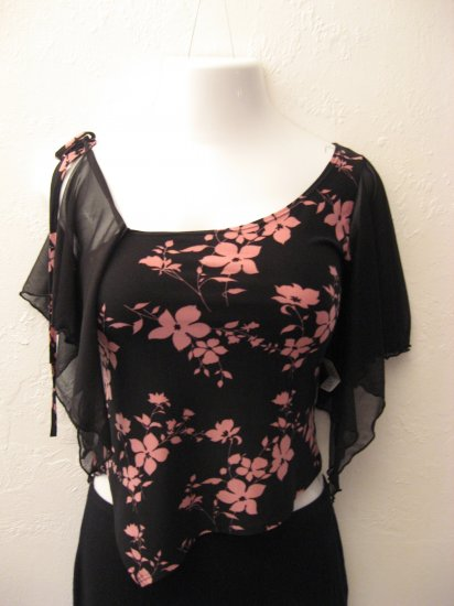 Sexy Black and Pink Floral Print Tank Top - Twin (Large)