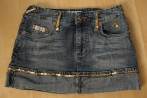 Blue Denim Jean Mini Skirt With Gold Sequence Accents - Baby Phat (Size 1, Extra Small)