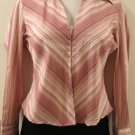 White, Red & Pink Striped Collared Long Sleeve Career Top - Andrew & Co. (Medium)